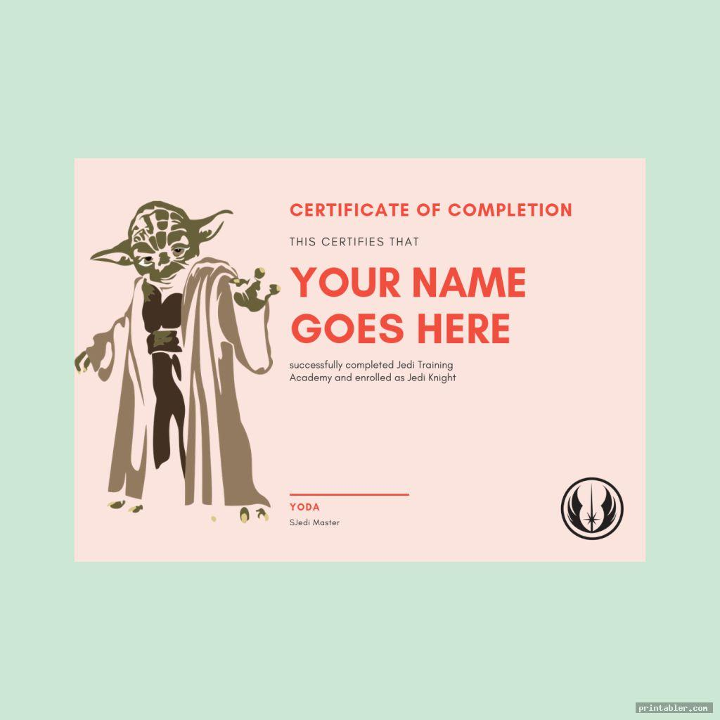 Star Wars Jedi Certificate Template Printable