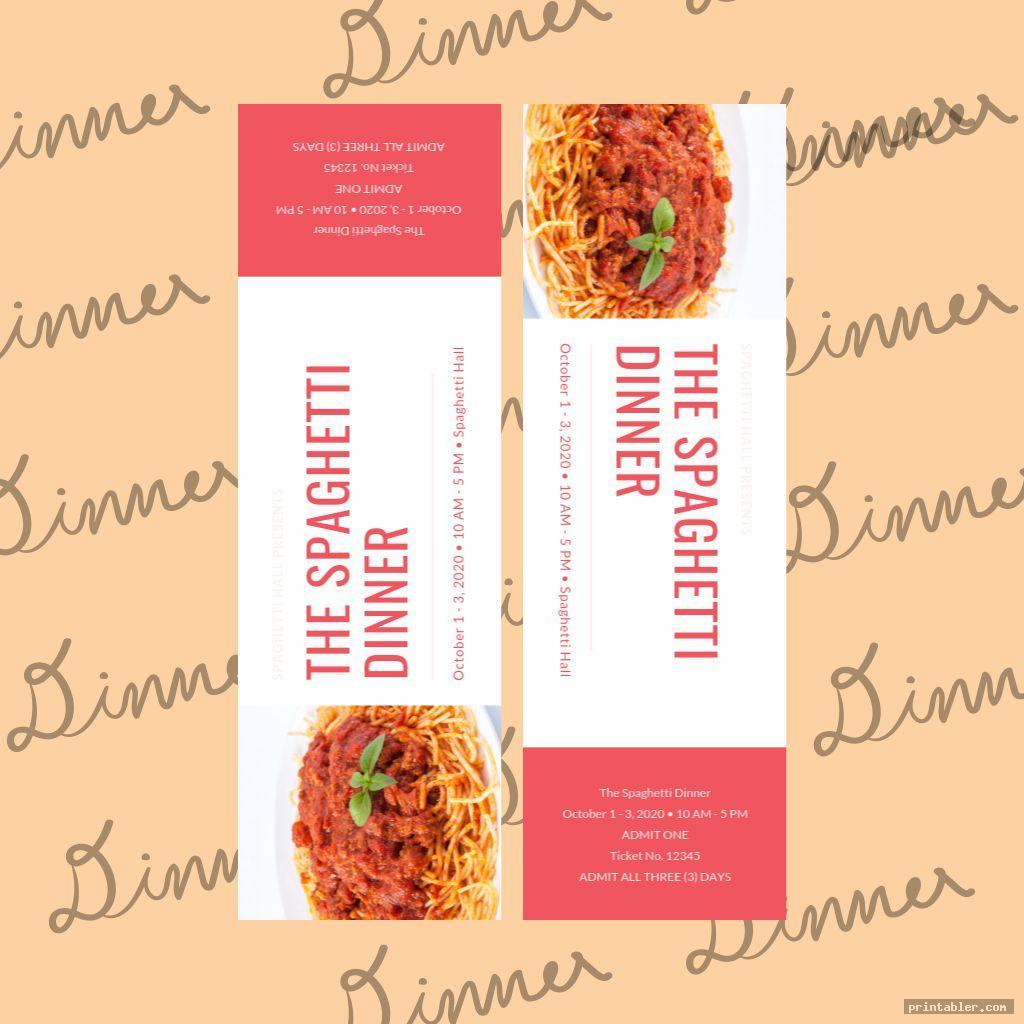 modern printable spaghetti dinner ticket template
