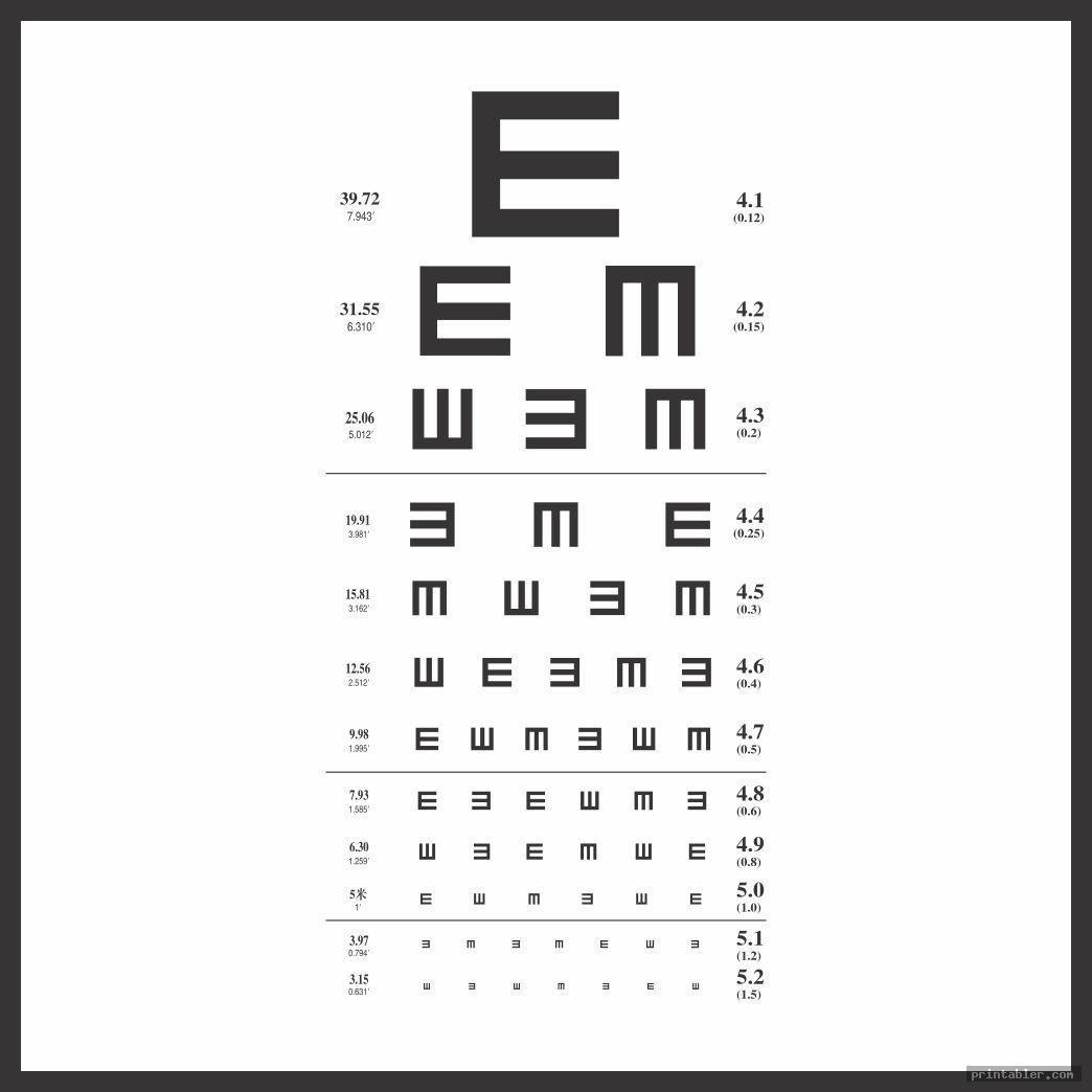 It is an image of Revered Pediatric Eye Chart Printable