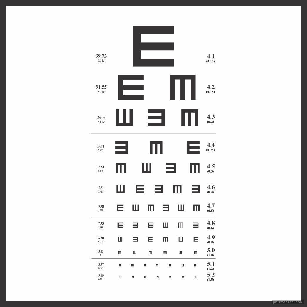 graphic relating to Printable Eye Chart named Pediatric Eye Chart Printable -