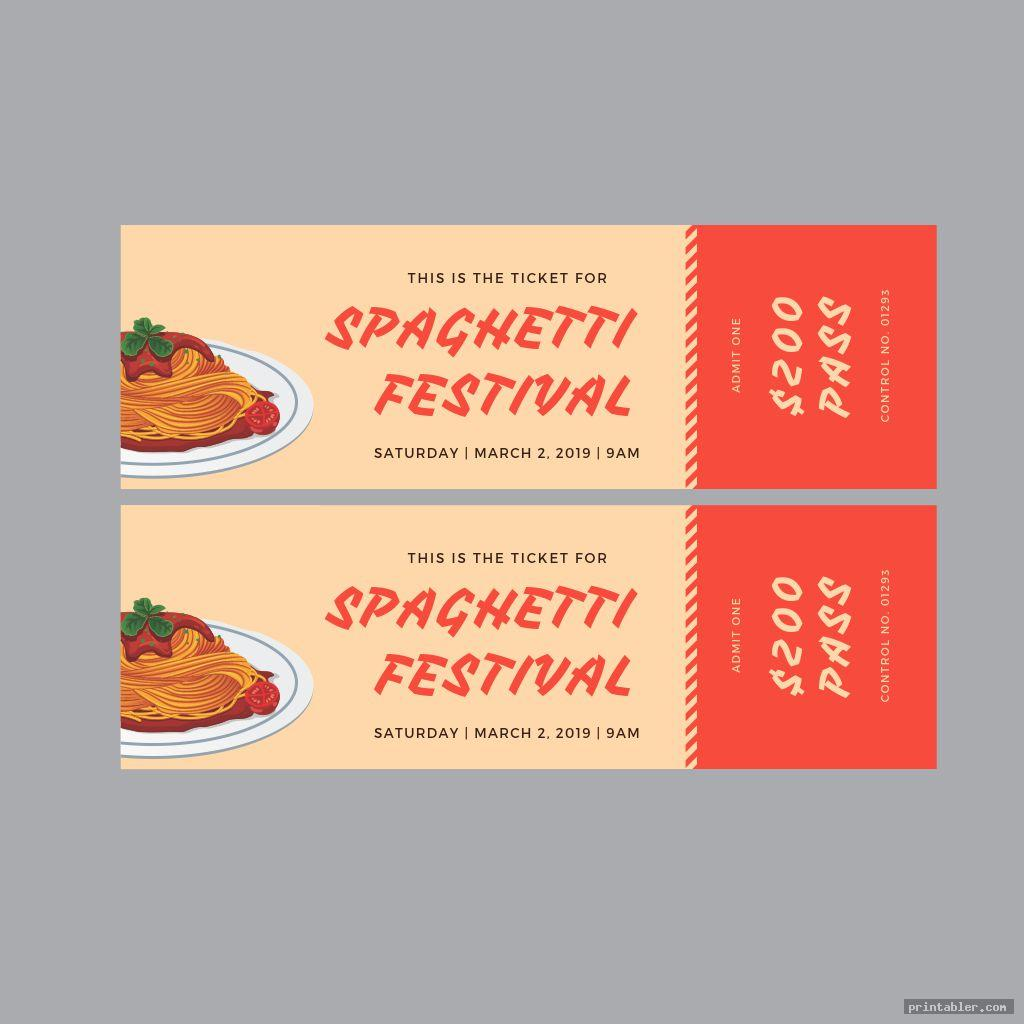 printable spaghetti dinner ticket template
