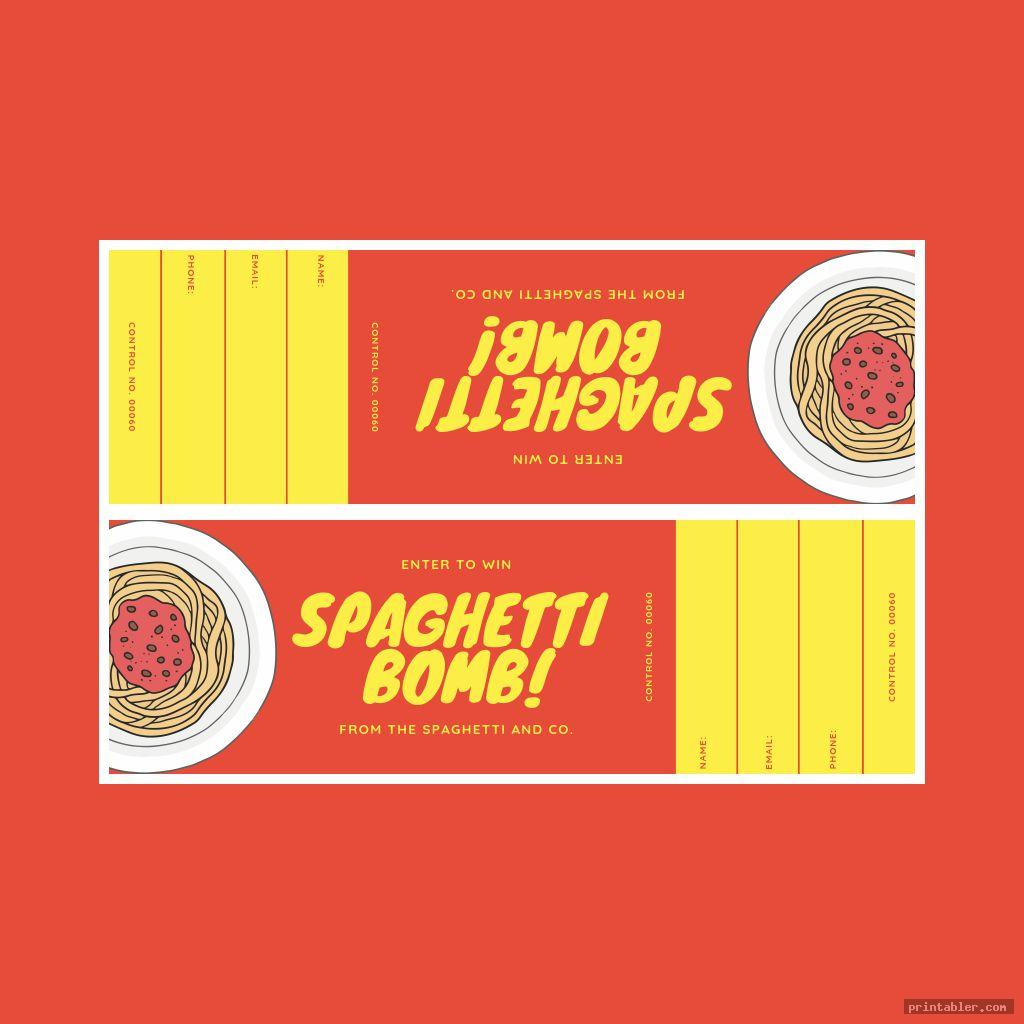 Spaghetti Dinner Ticket Template Printable
