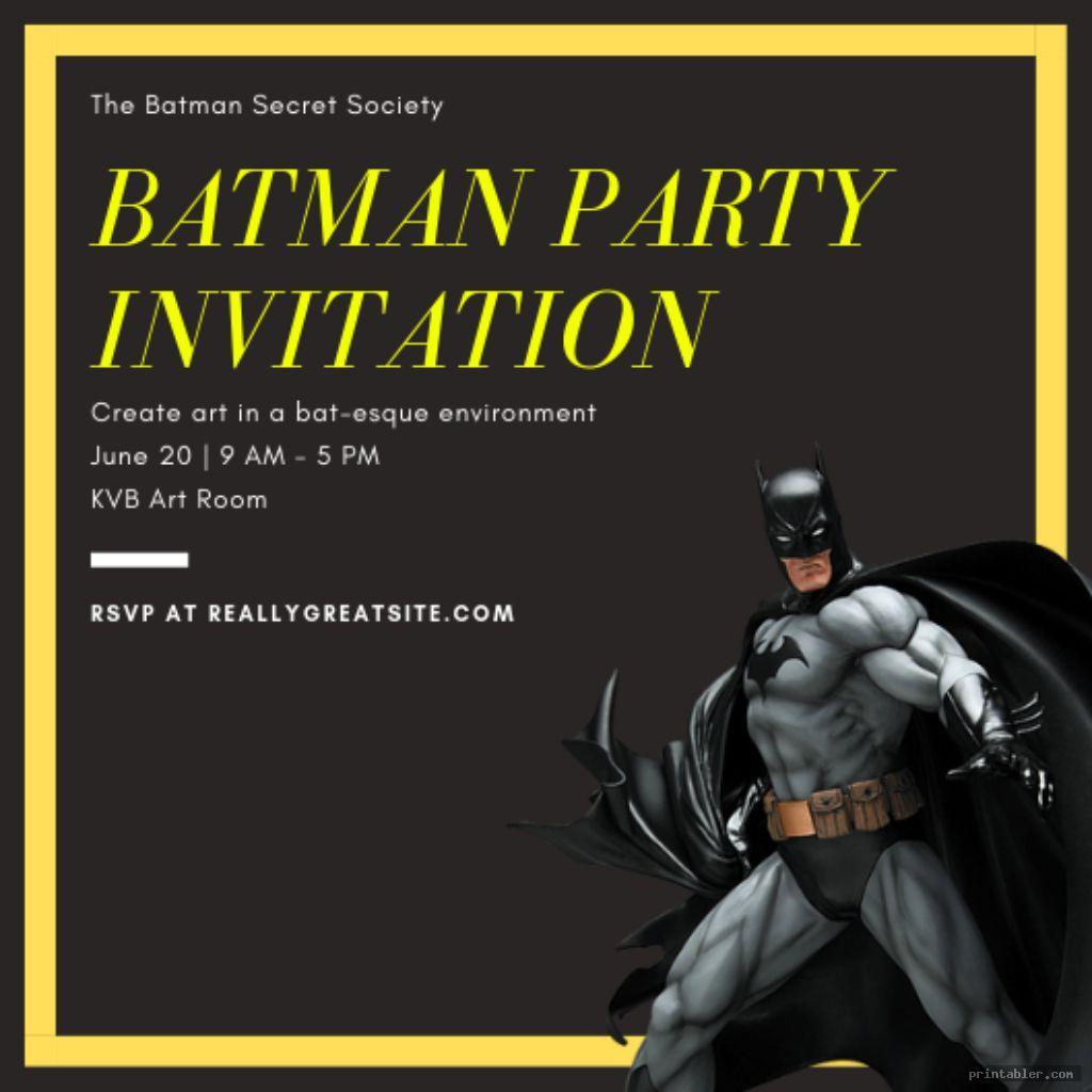 graphic relating to Printable Batman Invitations named Batman Invites Printable -