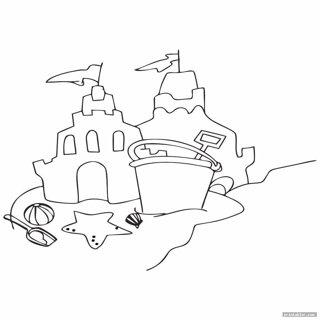 beach sand bucket and shovel coloring page printable