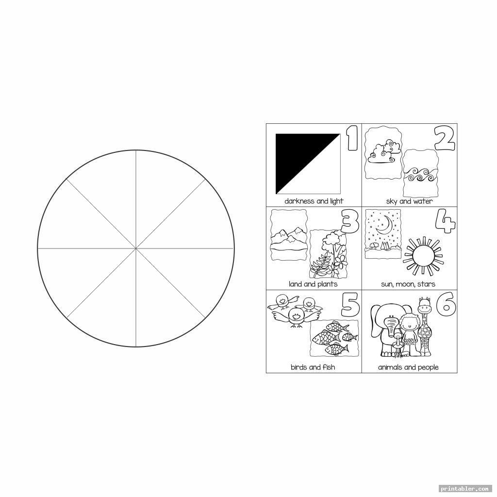 blank cutout creation story wheel printable