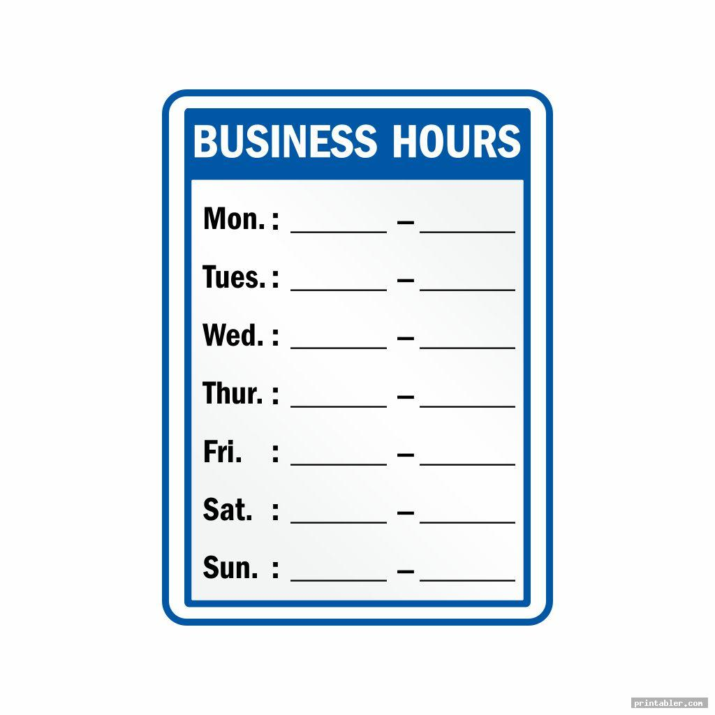 business hours sign printable template free