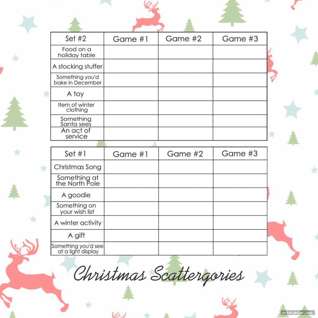 chritmas scattergories cards 1 12 printable