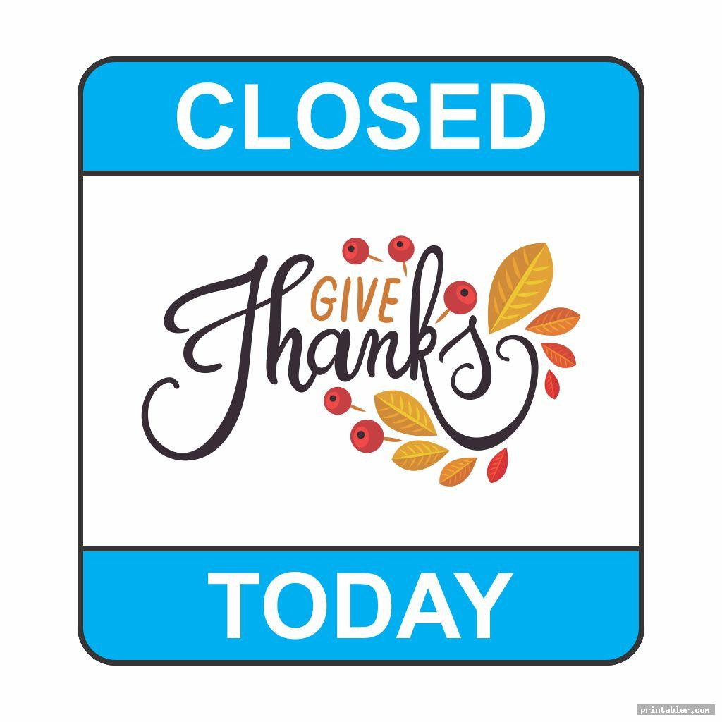 closed for thanksgiving sign printable for use