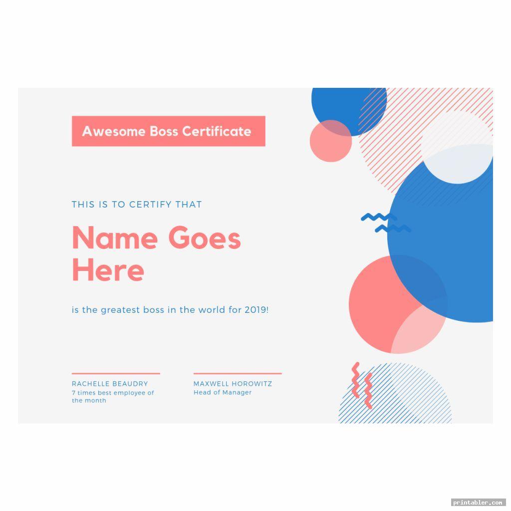 Best Boss Award Certificate Printable