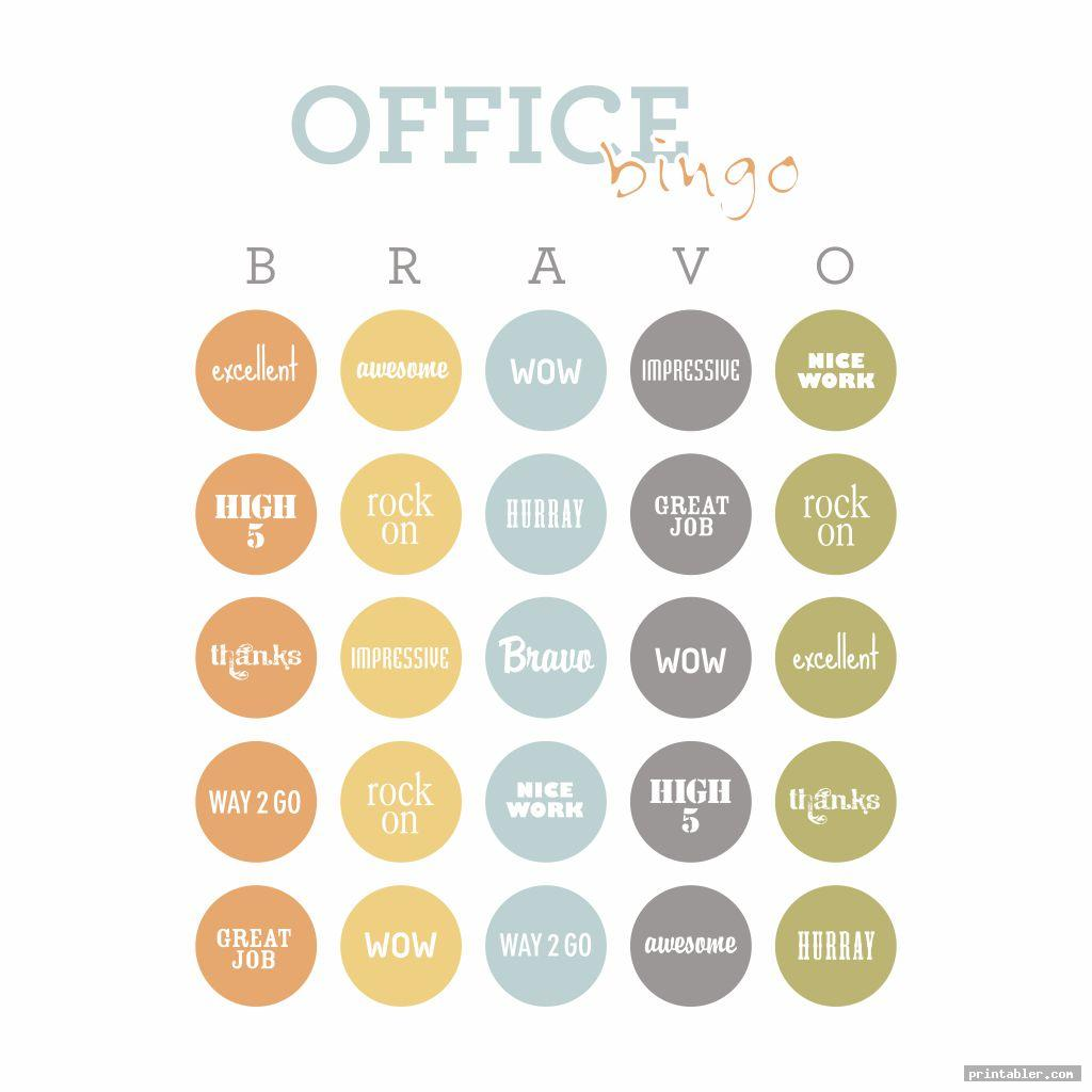 colorful office bingo template printable