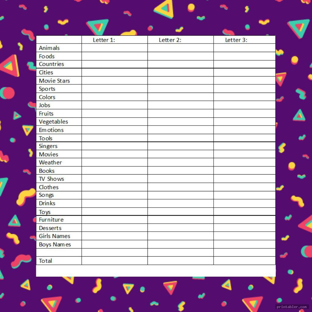 colorful scattergories cards 1 12 printable