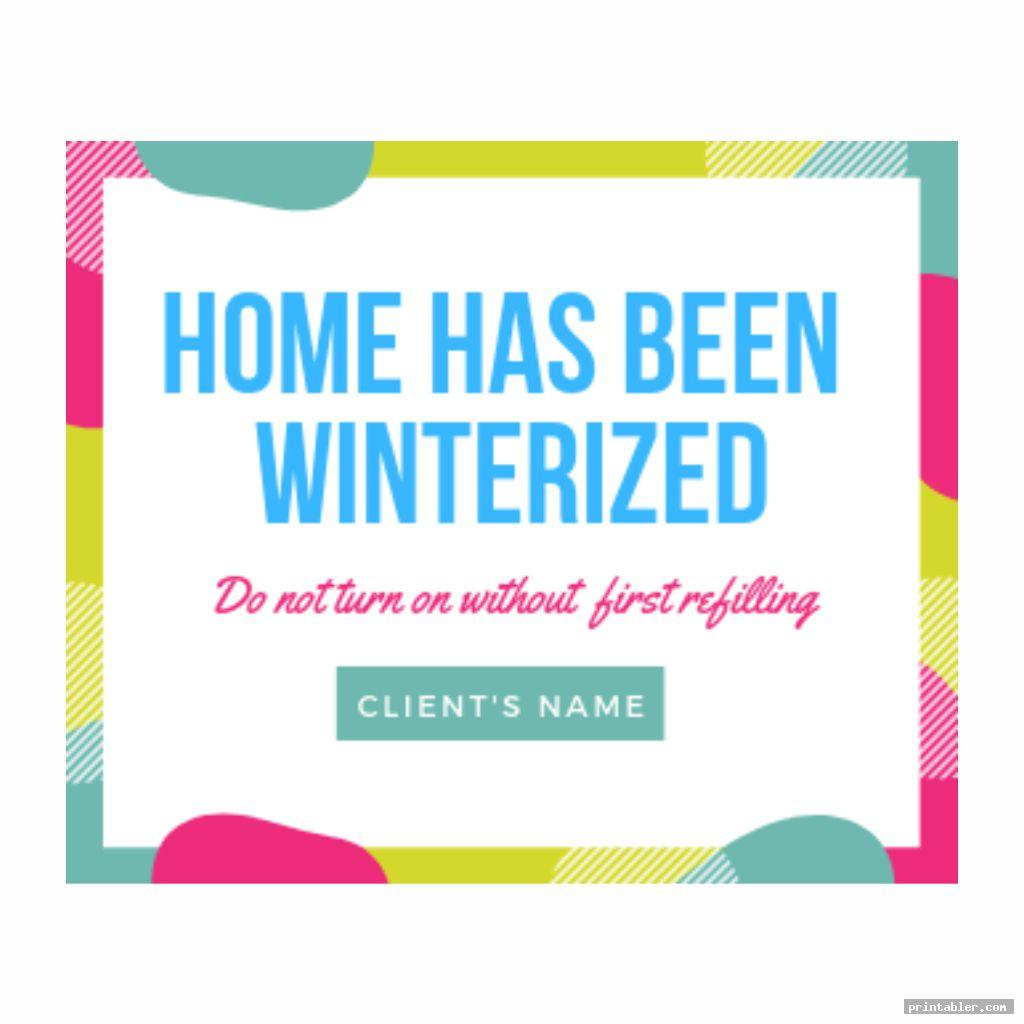 Winterization Signs Printable