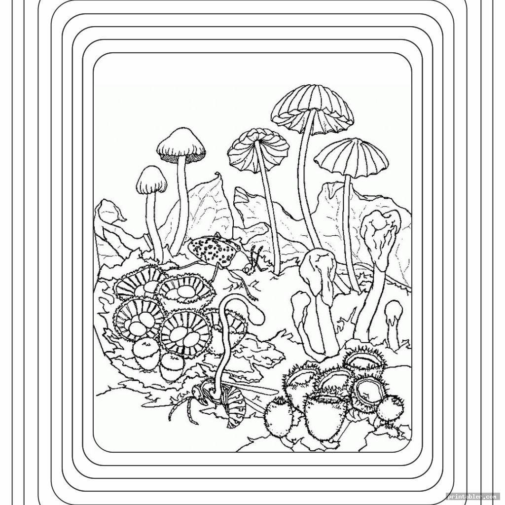complicated trippy mushroom coloring pages printable
