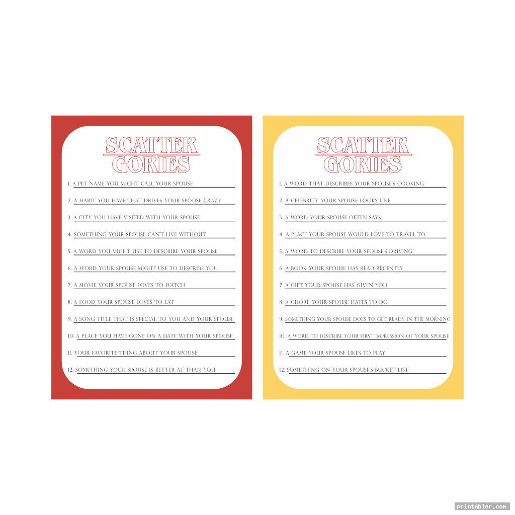 New Scattergories Sheets Printable
