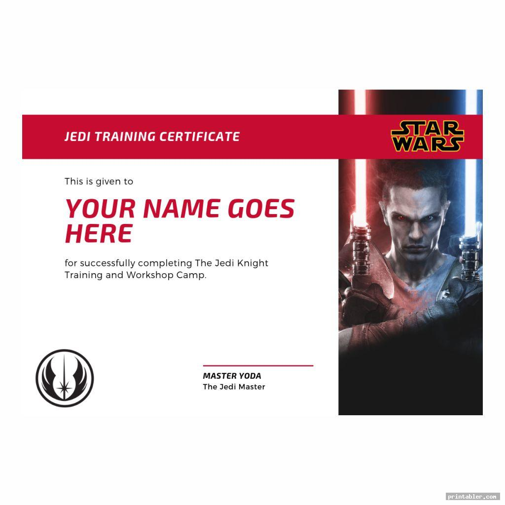 corporate style jedi training certificate printable