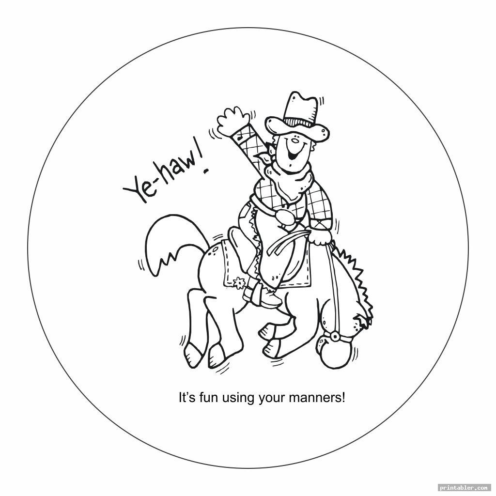 cowboy good manners coloring pages printable