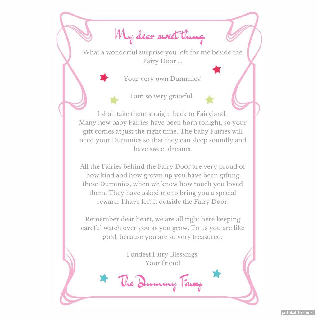 cute dummy fairy letter printable