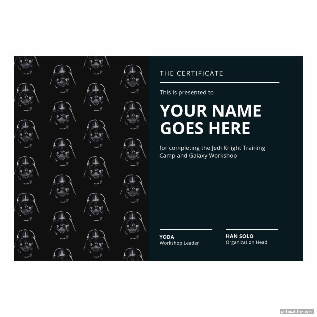 dark themed jedi training certificate printable