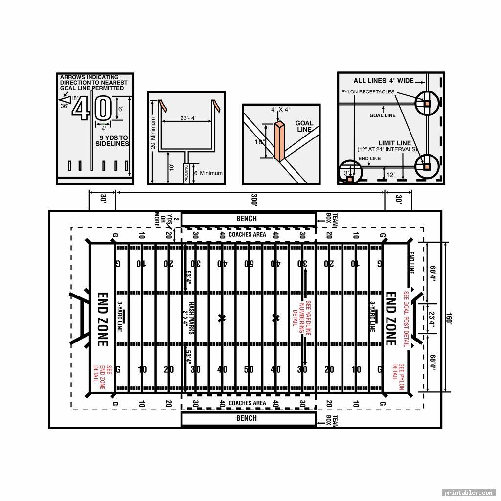 detailed football field diagram printable