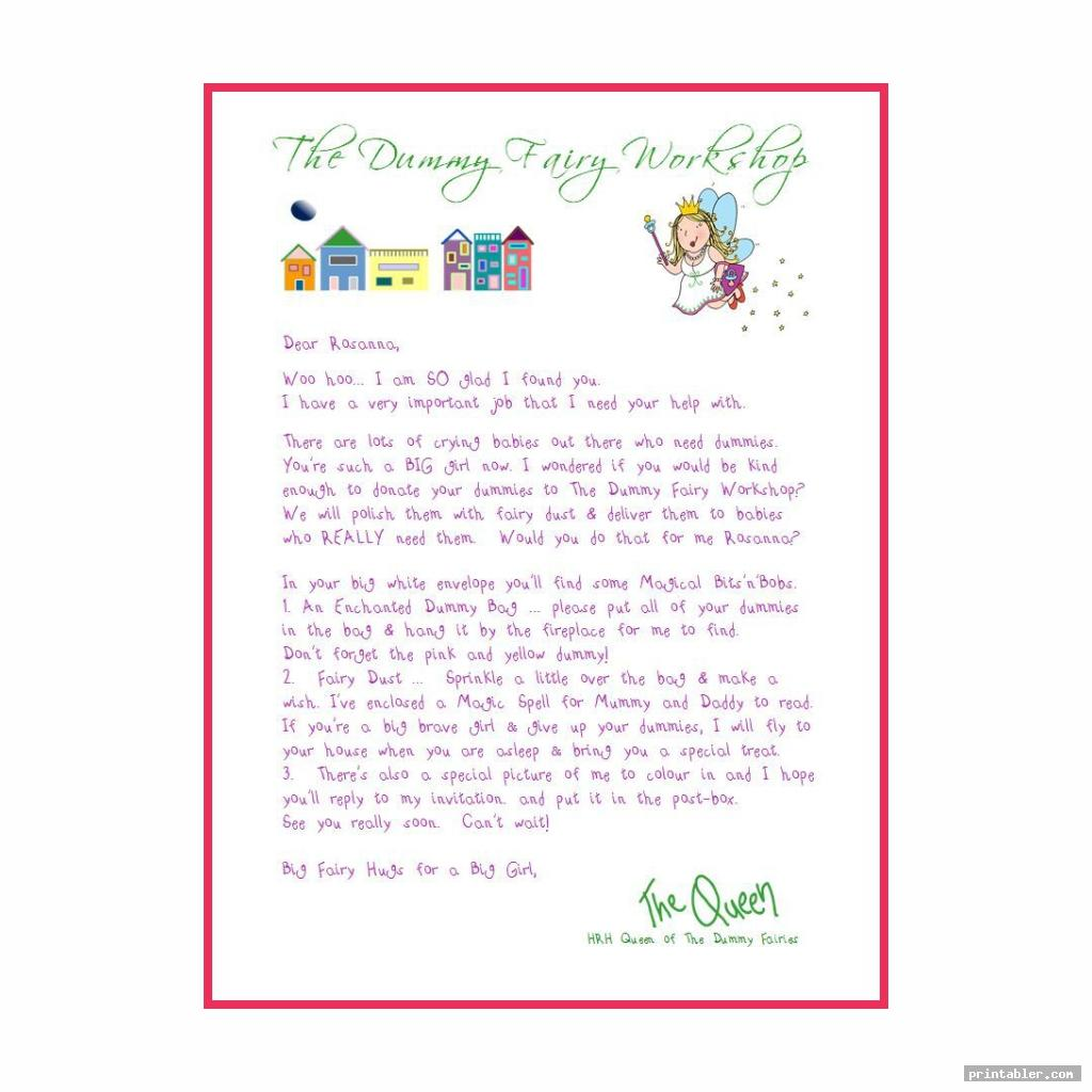 dummy fairy letter printable for use