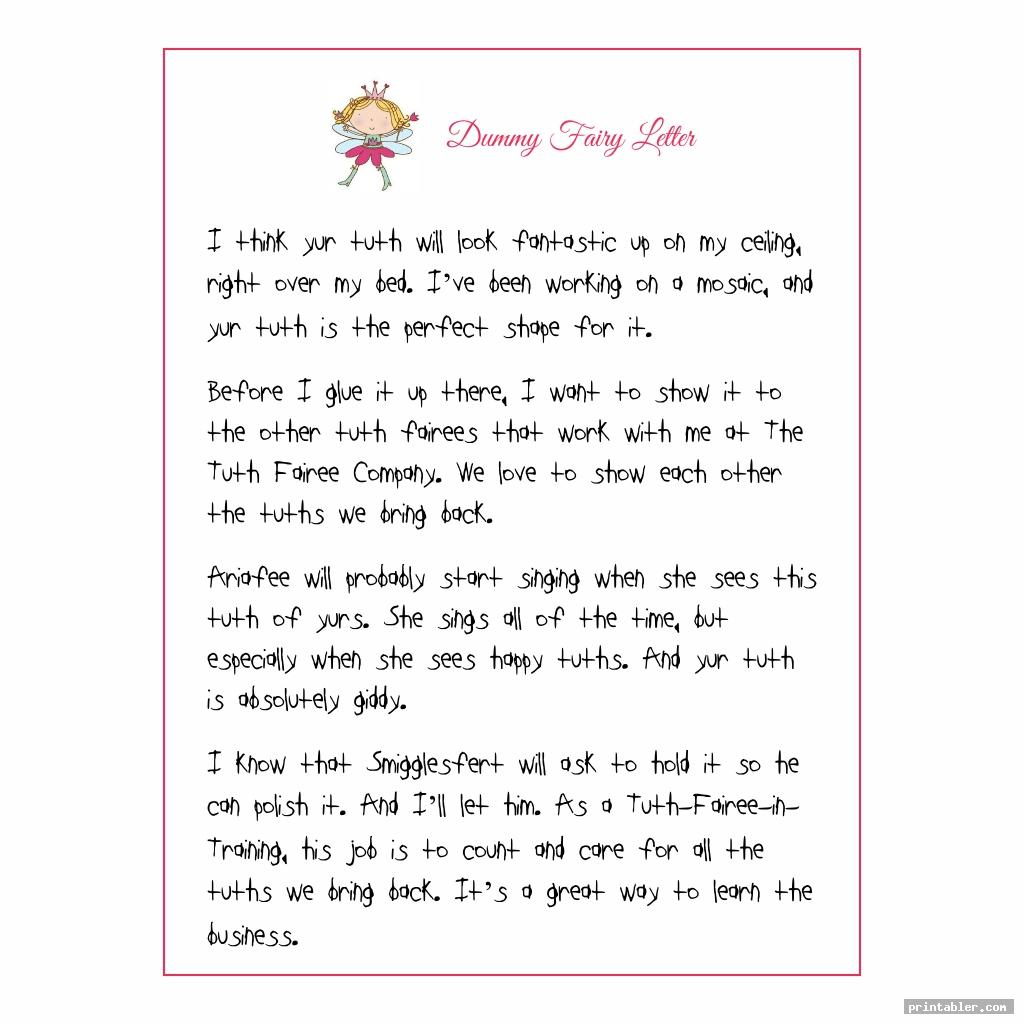 dummy fairy letter printable template