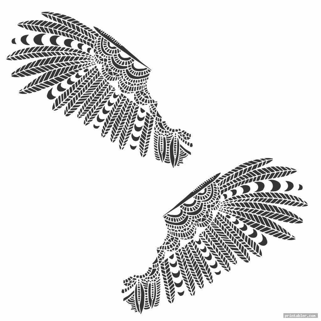 ethnic pattern owl feather template printable