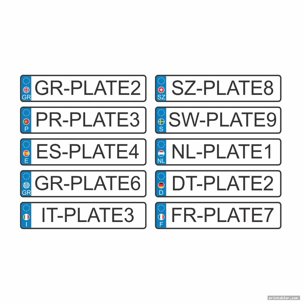 europe license plate template printable
