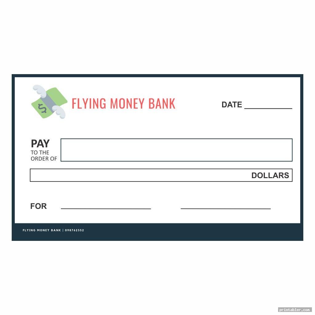 flying banks pretend checks printable free