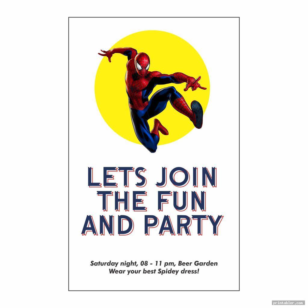 funky spiderman birthday invitations printable