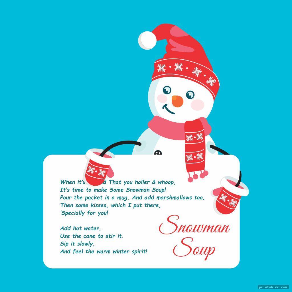 funny snowman soup template printable