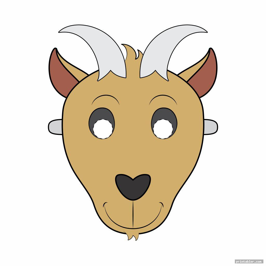 goat mask template printable image free