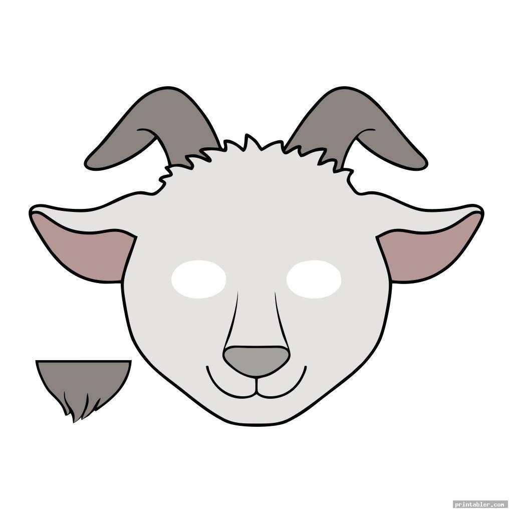 goat mask template printable with beard