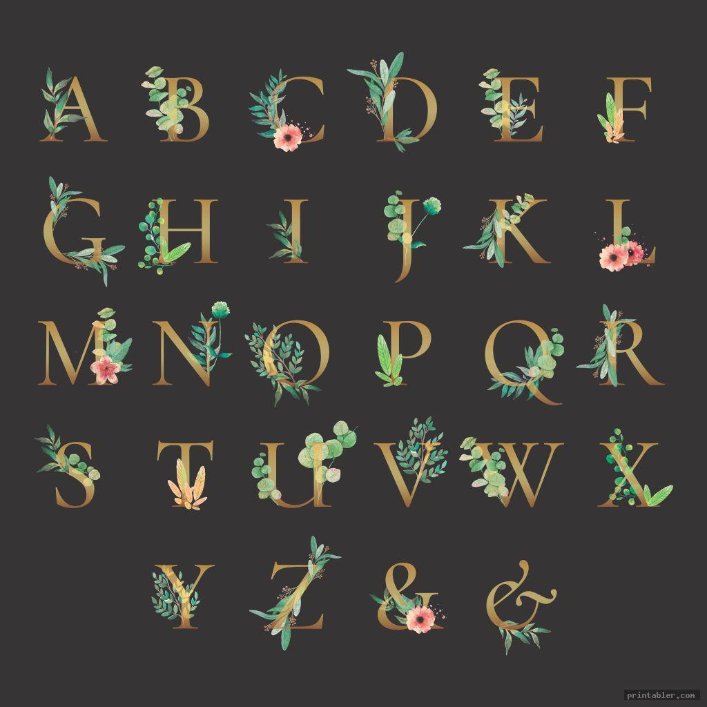 gold letters in nature printable