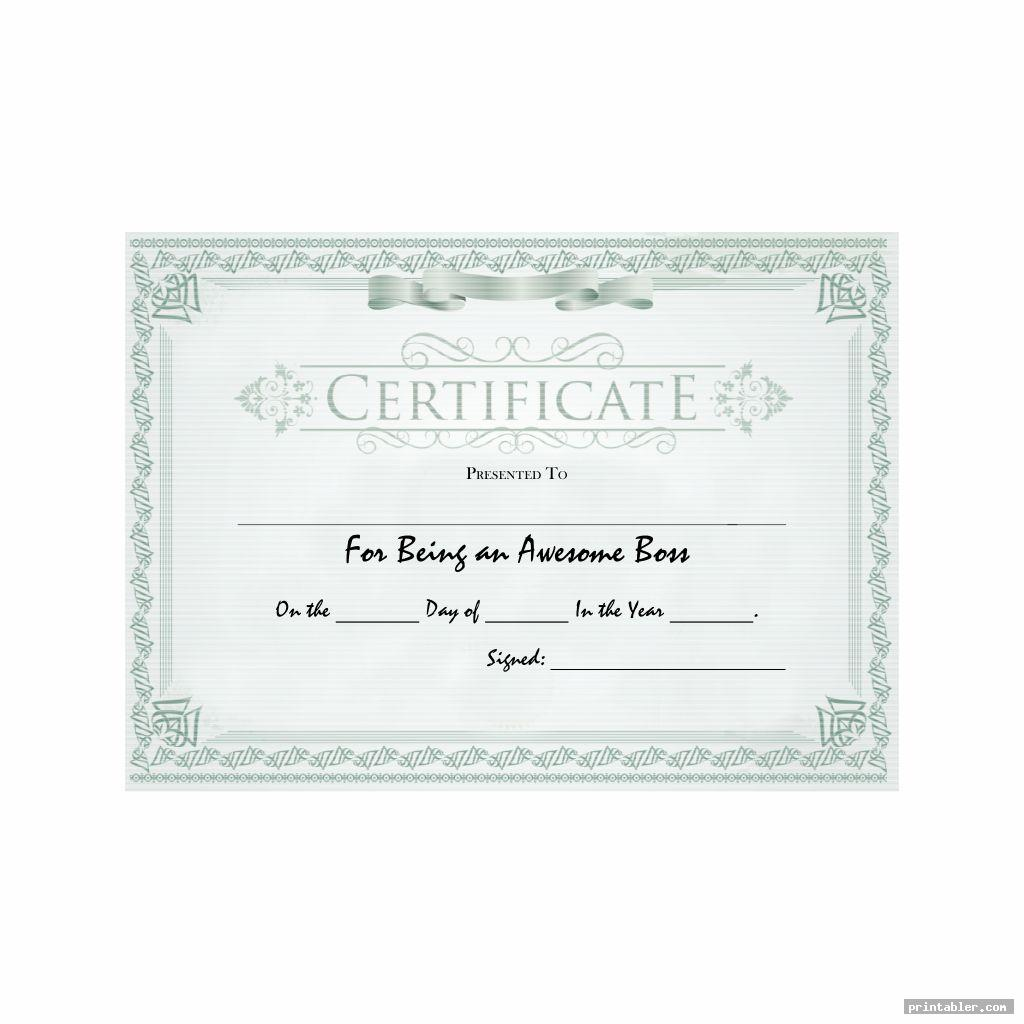 green realistic best boss award certificate printable