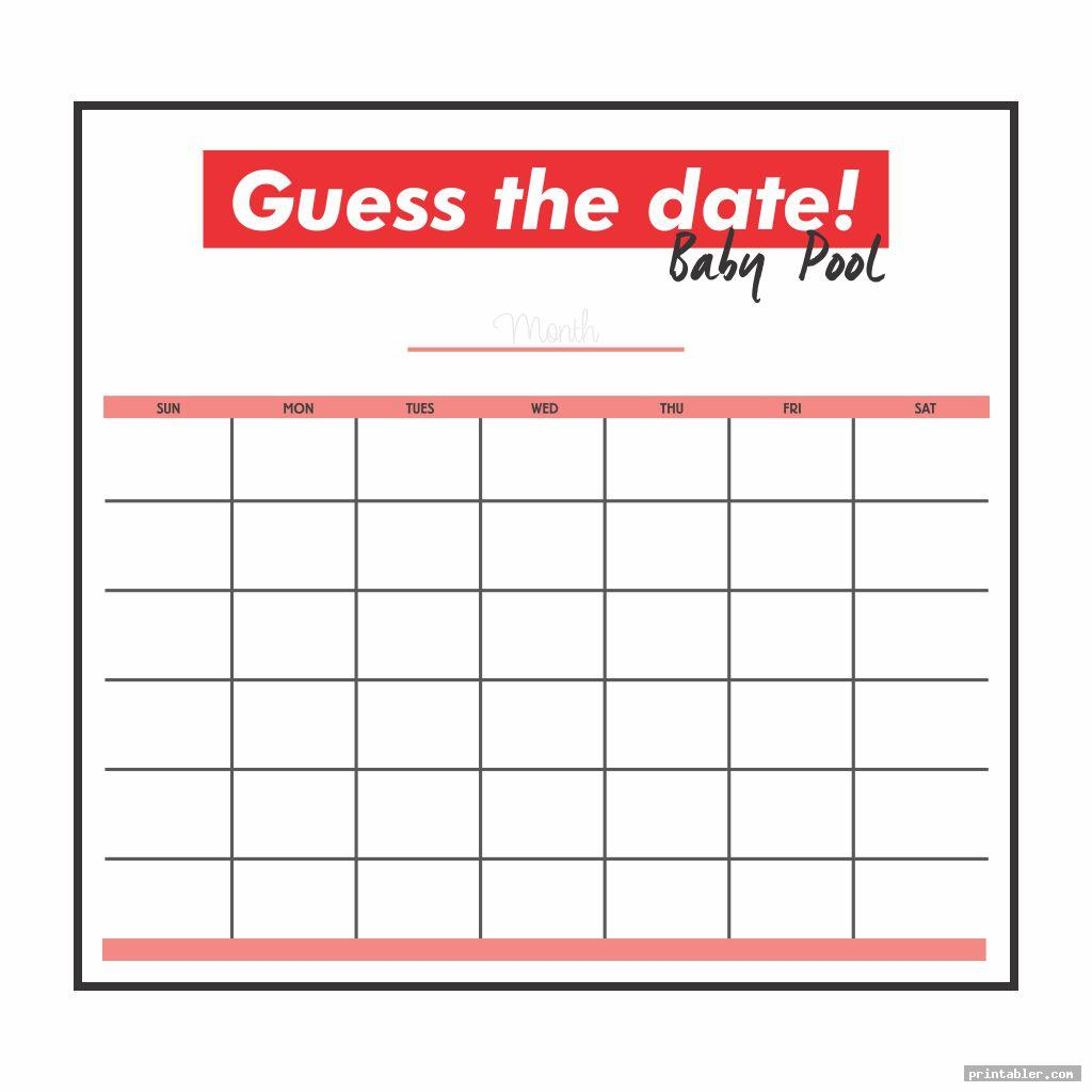 guess the date baby pool template printable