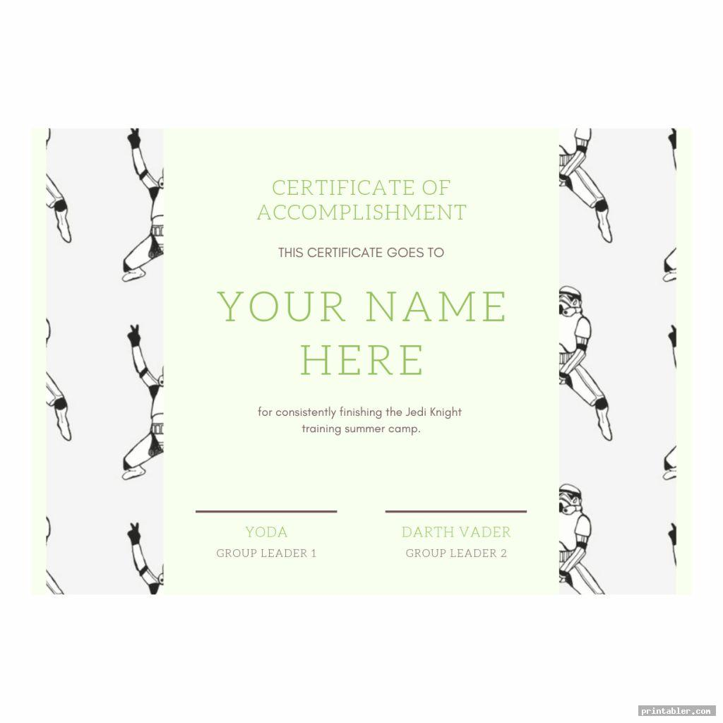 jedi training certificate printable image free