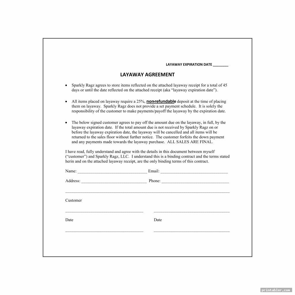 layaway agreement form printable for use