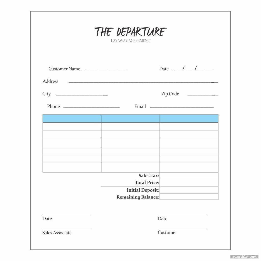 layaway agreement form printable image free