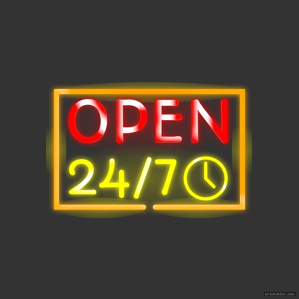 Business Hours & 24/7 Signs Printable