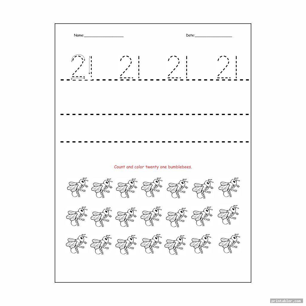 number 21 worksheet printable for kids
