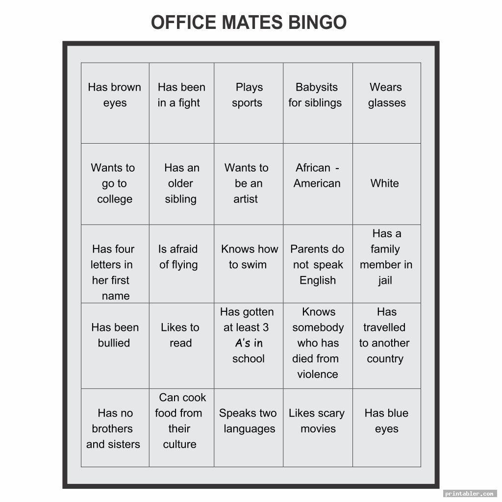 office bingo template printable image free