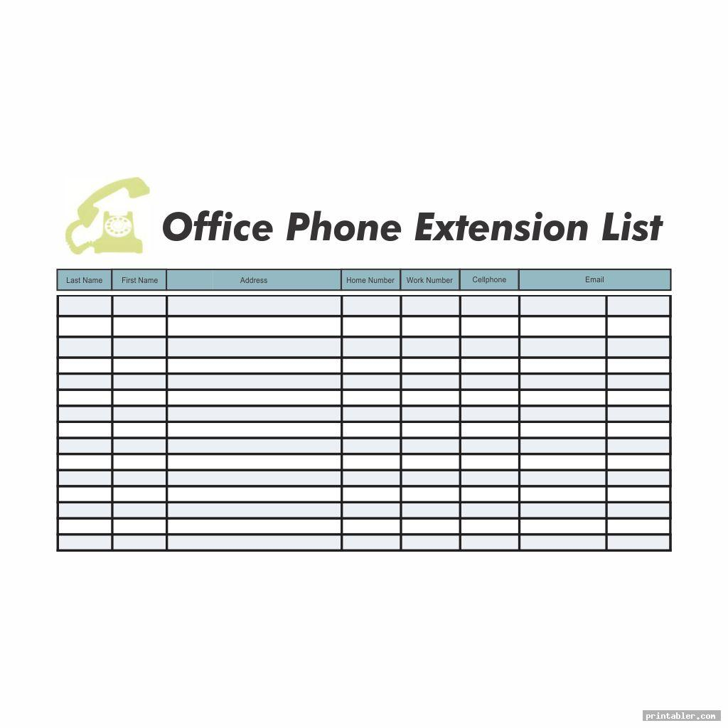 office phone extension template printable image free