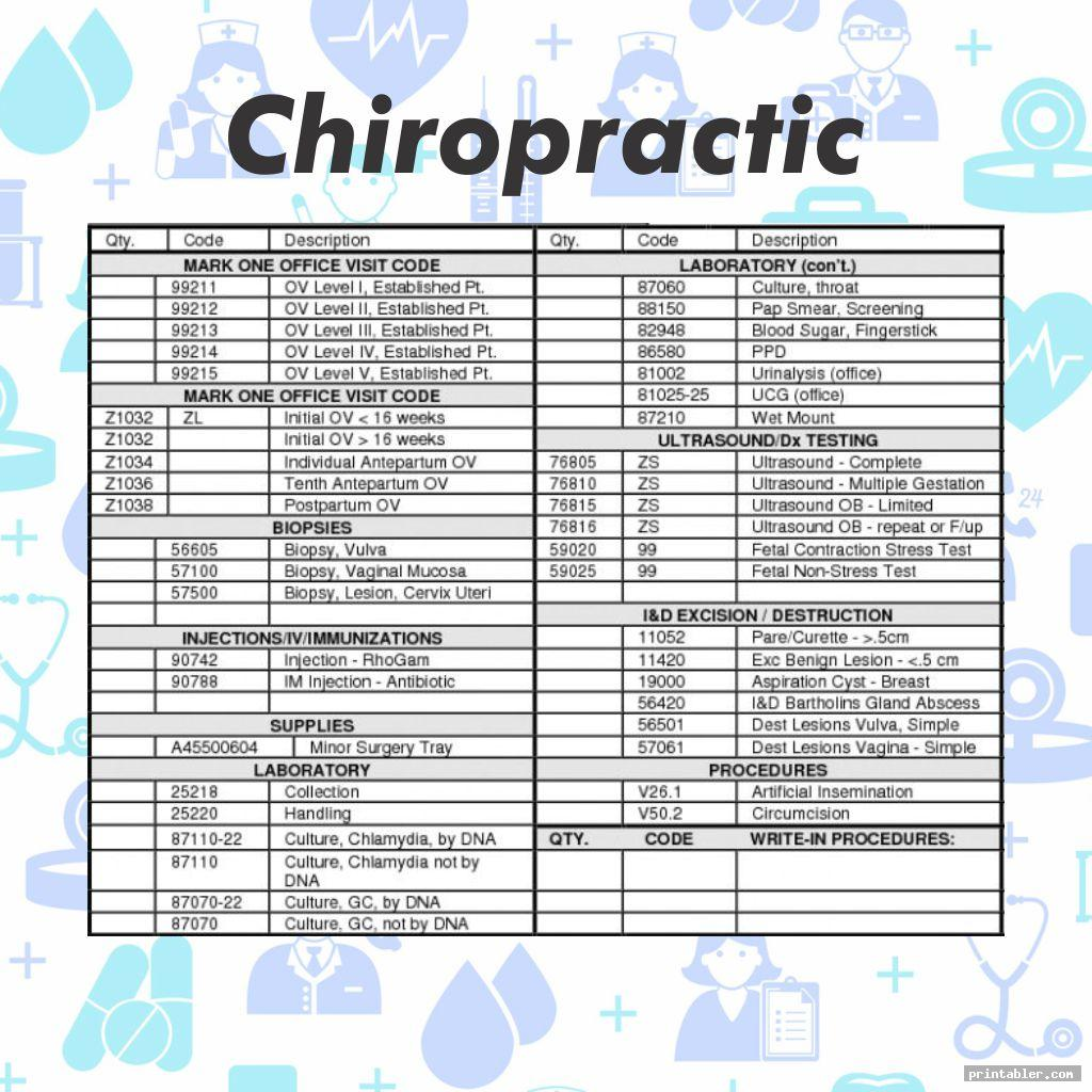 printable diagnose chiropractic superbill template