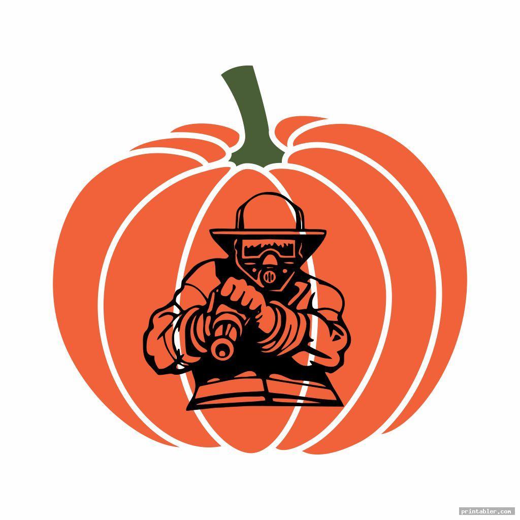 printable fireman pumpkin stencil template