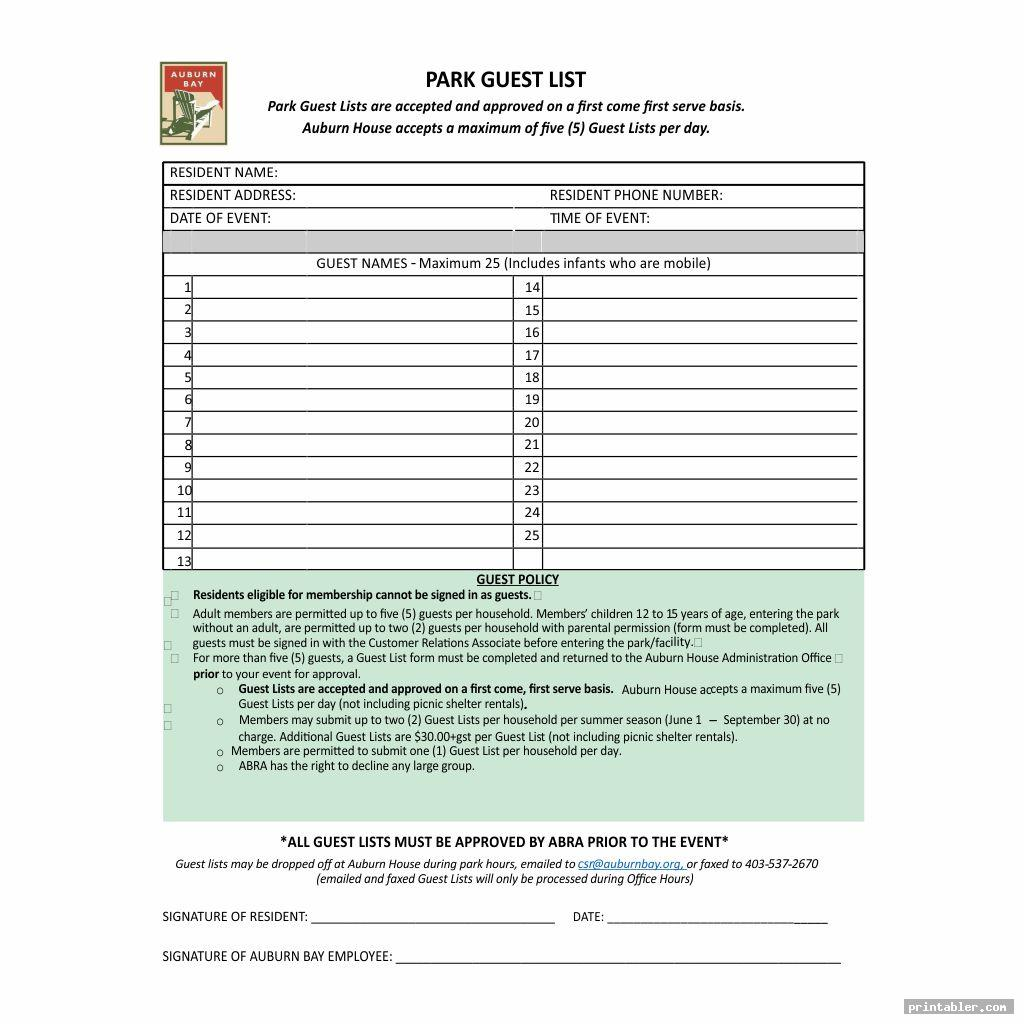 Guest Check Template Printable