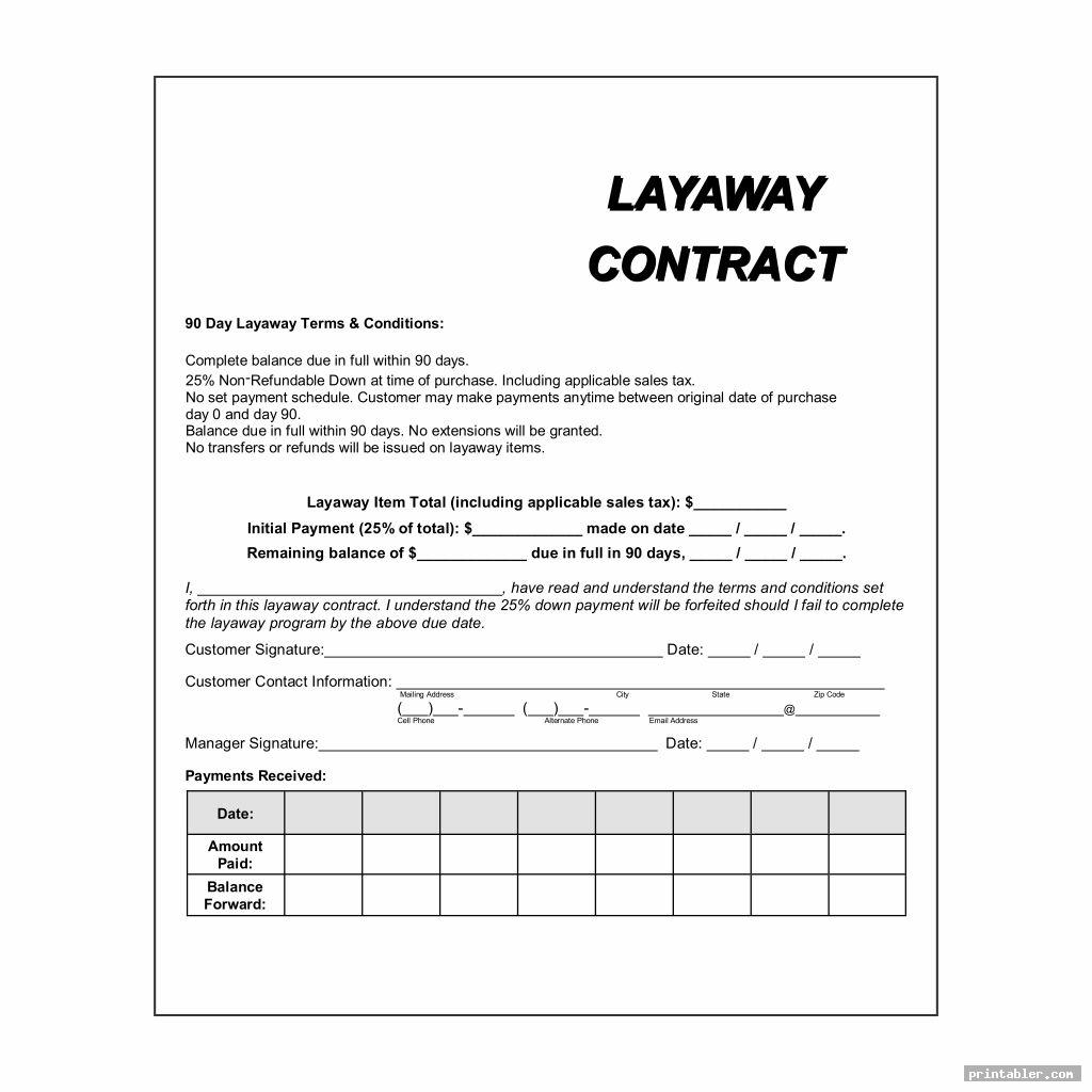 printable layaway agreement form template