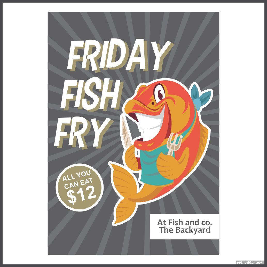 printable retro church fish fry flyer