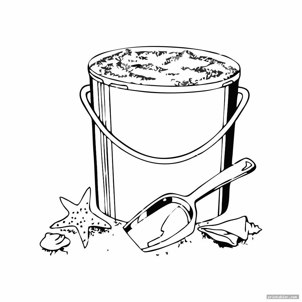 printable sand bucket and shovel coloring page template