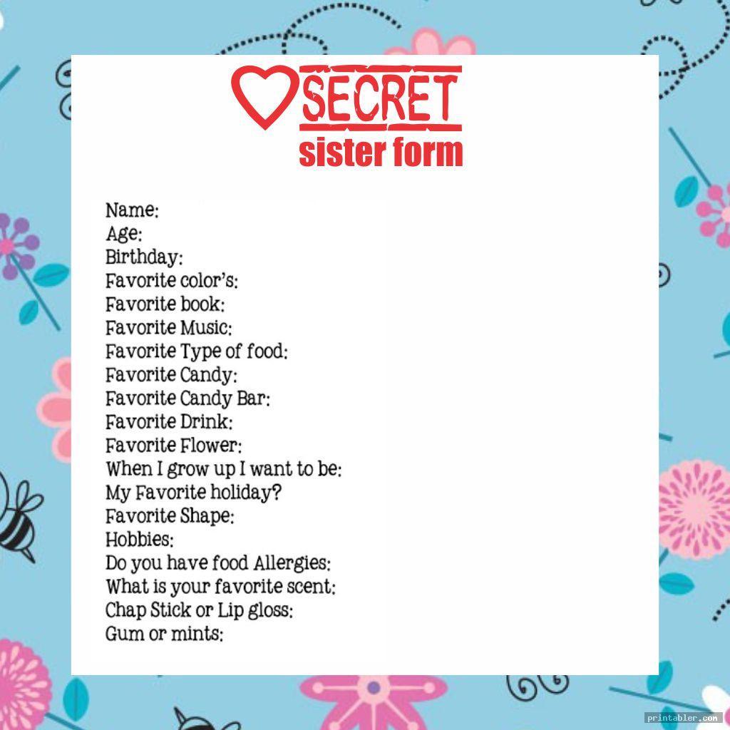 Secret Sister Information Forms Printable
