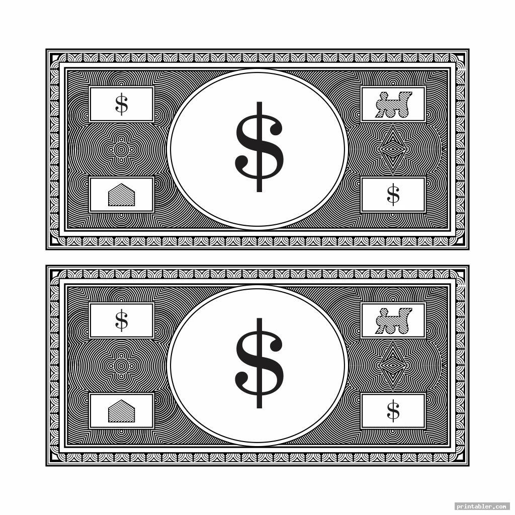 realistic play money black and white printable